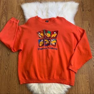 Warner Brothers Vintage Orange Sweatshirt XL FLAWS